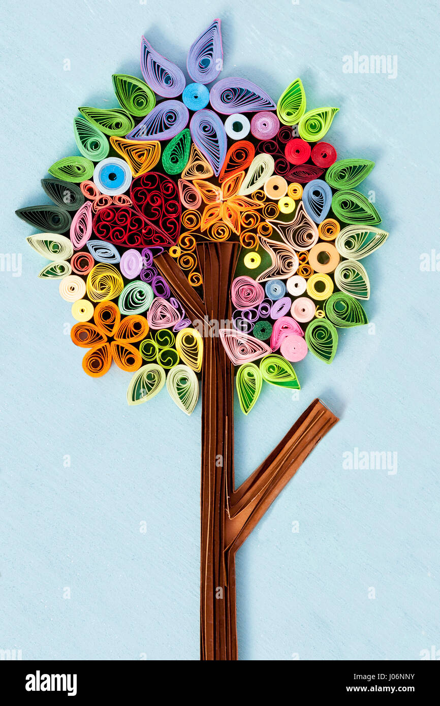 Paper quilling flowers stock photos paper quilling flowers stock tree made of quilling art stock image mightylinksfo