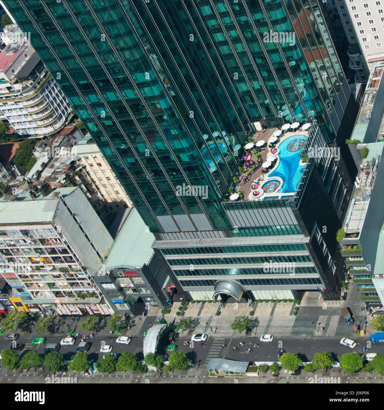 Vertical aerial cityscape of new developments in Ho Chi Minh City in Vietnam. - Stock Image