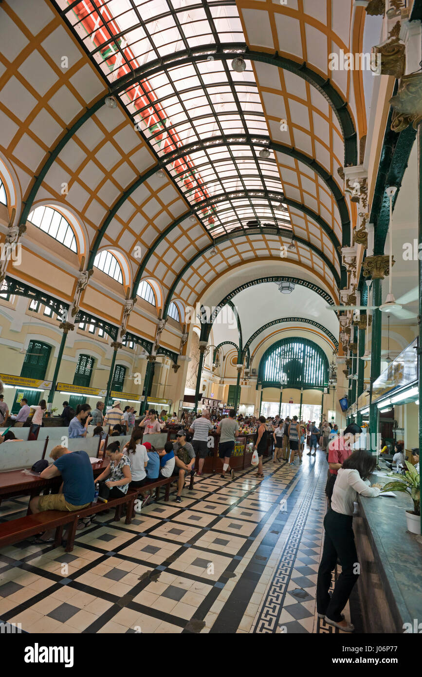 Vertical interior view of Saigon Central Post Office in Ho Chi Minh City, HCMC, Vietnam. - Stock Image
