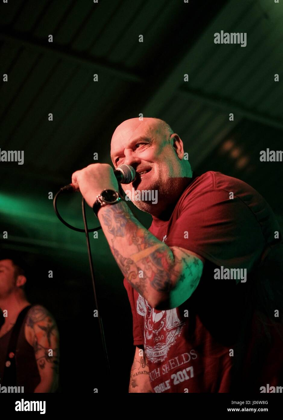 Thomas Mensi Mensforth performing with British punk band the Angelic Upstarts  at Pinkfest 2017, Engine Rooms Southampton - Stock Image