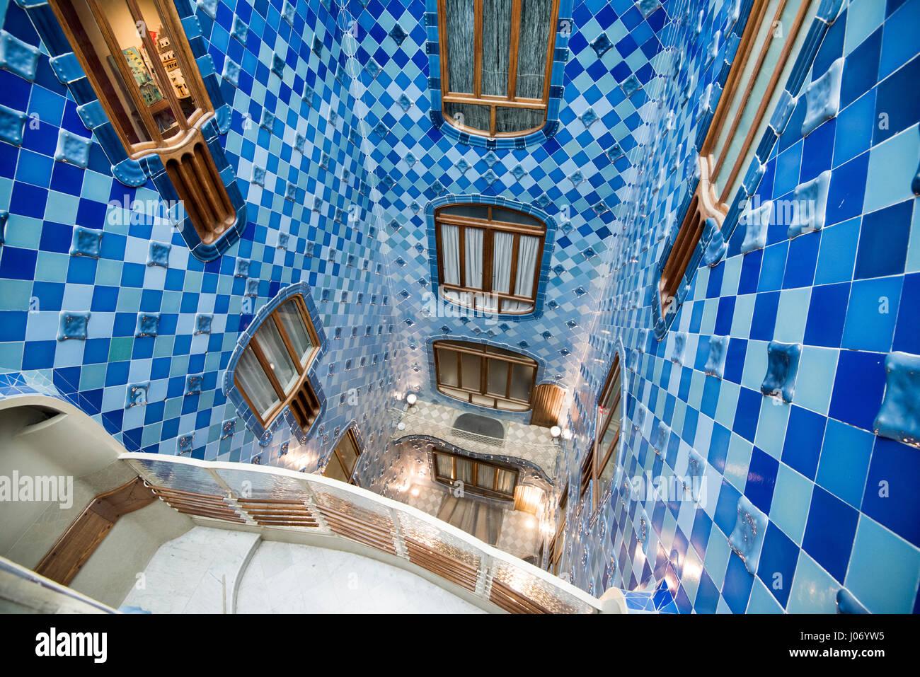Blue Tiled Interior Courtyard Inside Casa Batllo In