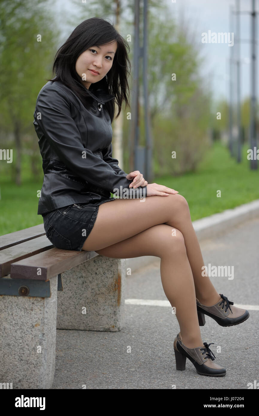 Asian girl in miniskirt