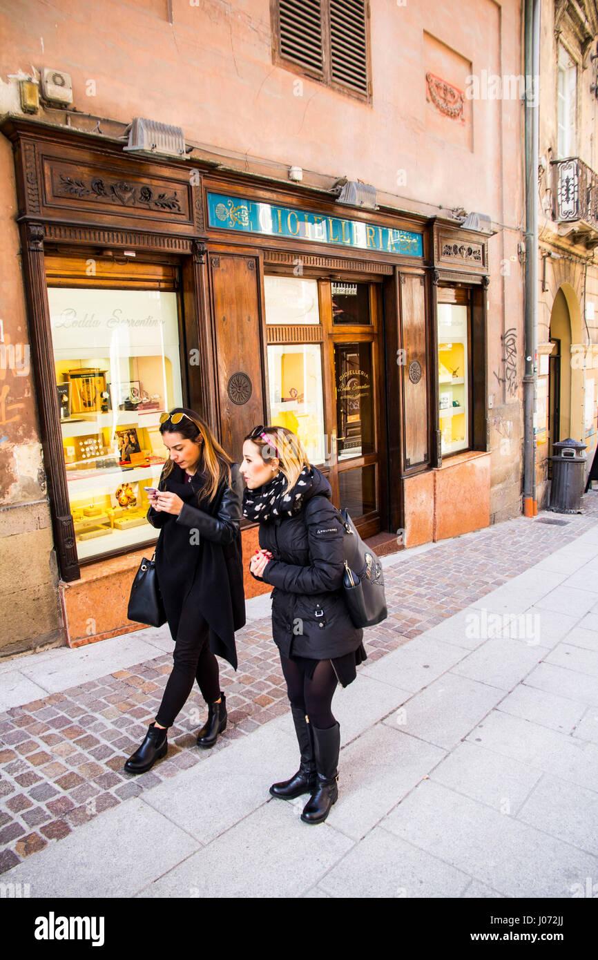 Shopping on Via Manno in Cagliari, Sardinia, Italy Stock ...
