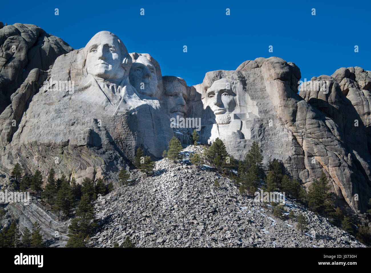 Mount Rushmore Memorial Monument is a popular tourist destination in the Black Hills of South Dakota - Stock Image