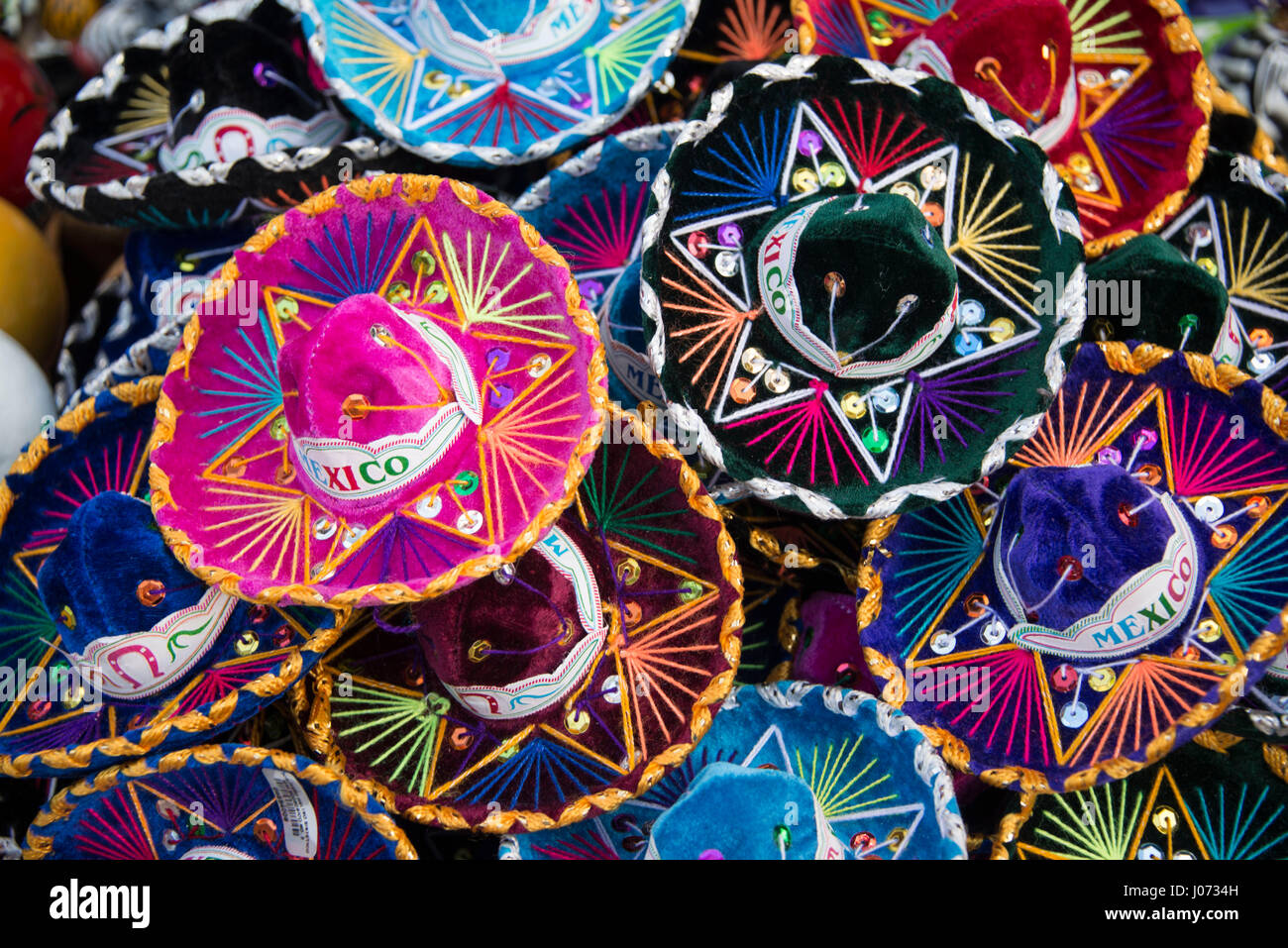Colorful Mexican sombreros at market in Mexico Stock Photo