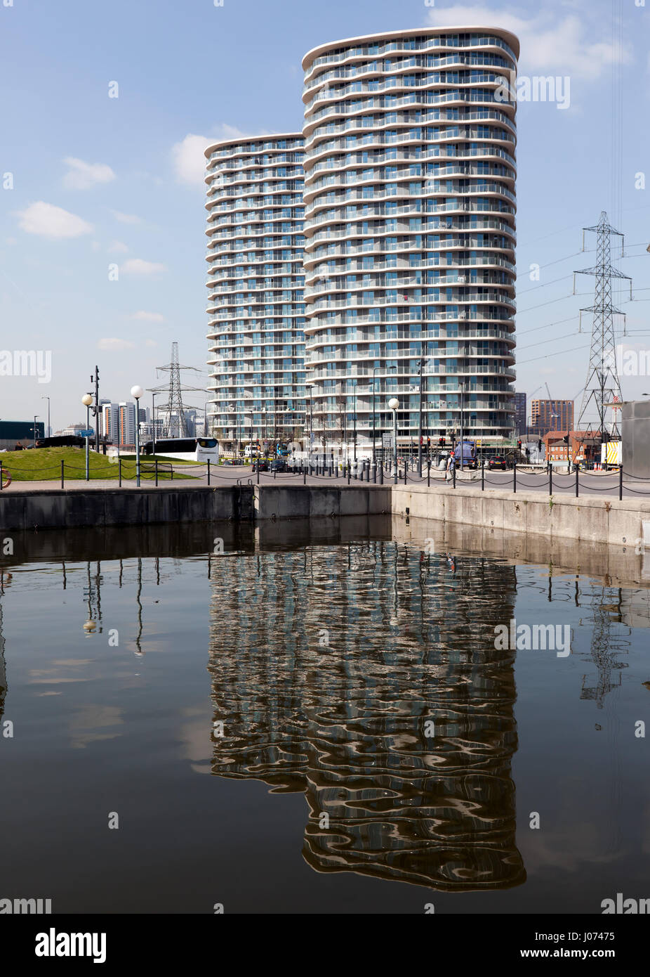 High Rise Apartment Blocks at the Western Gateway of the Royal Victoria Docks, Newham, London - Stock Image