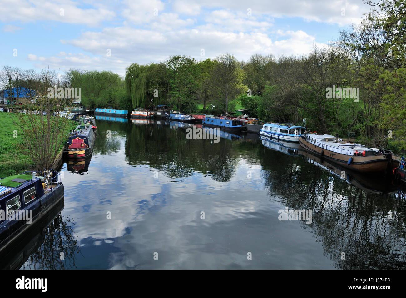 River Lea Navigation, near Springfield Park, North East London UK - Stock Image
