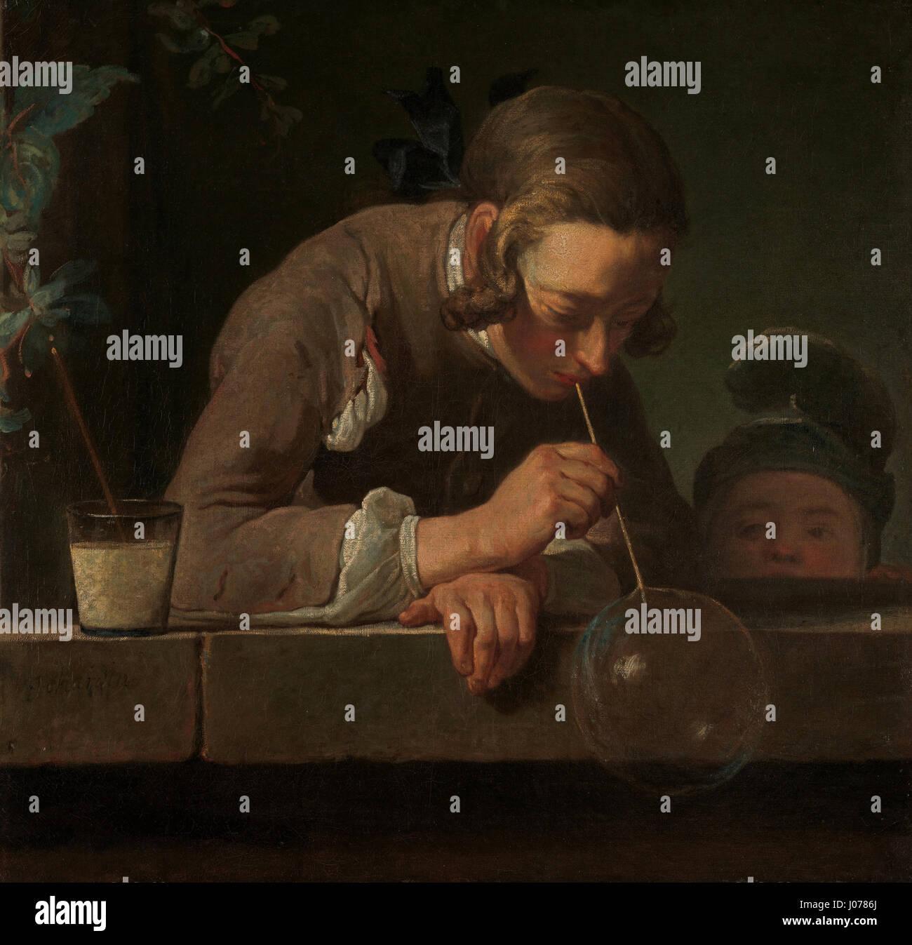 Soap Bubbles by Jean Simeon Chardin - Stock Image