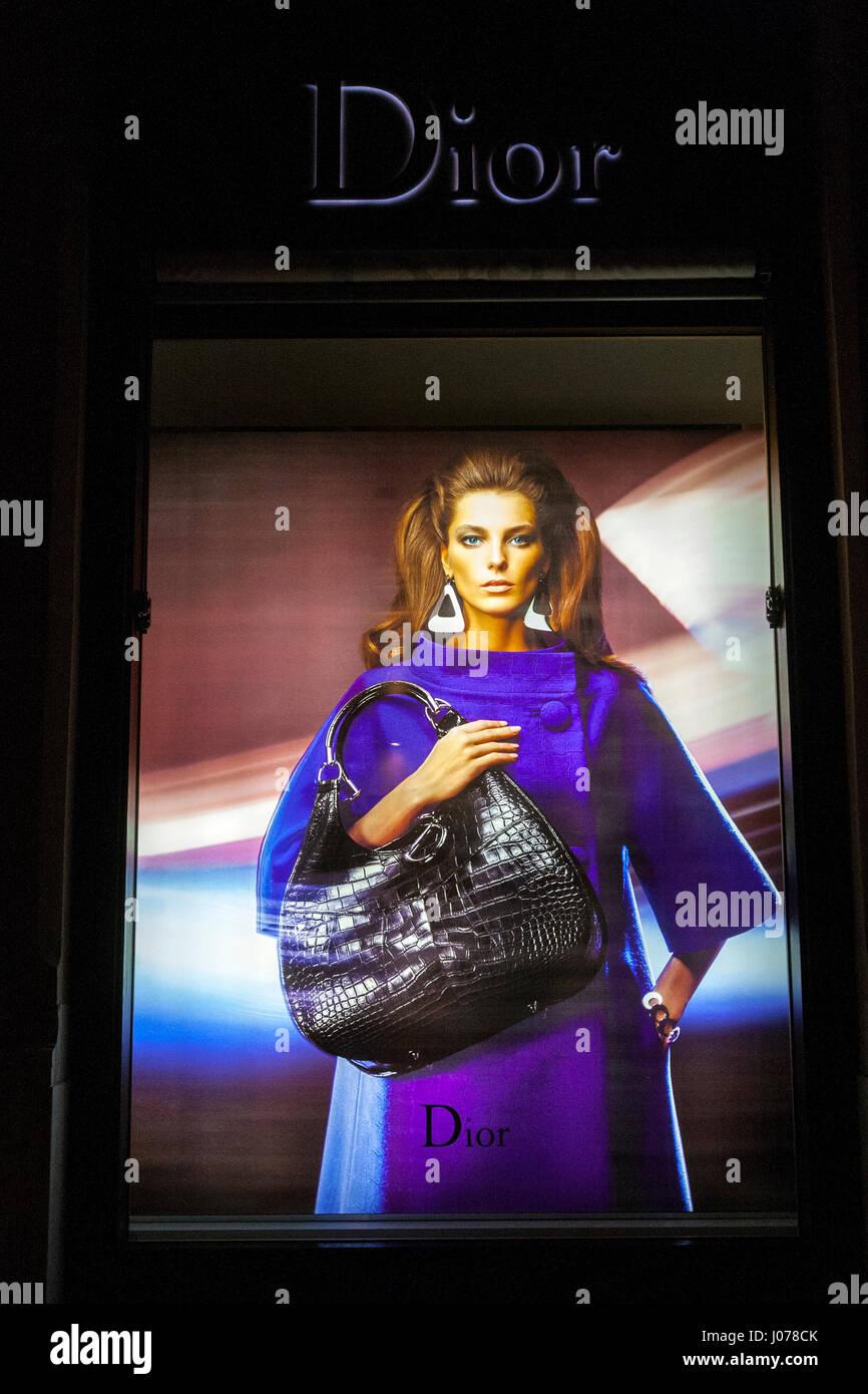 Dior showcase window in Maximilianstraße, Munich, germany - Stock Image
