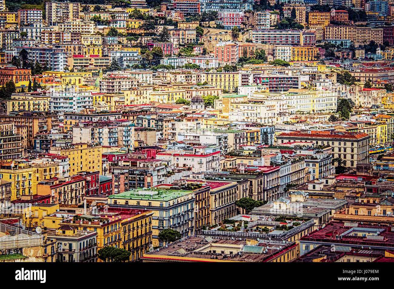 A view of downtown Naples, Italy - Stock Image