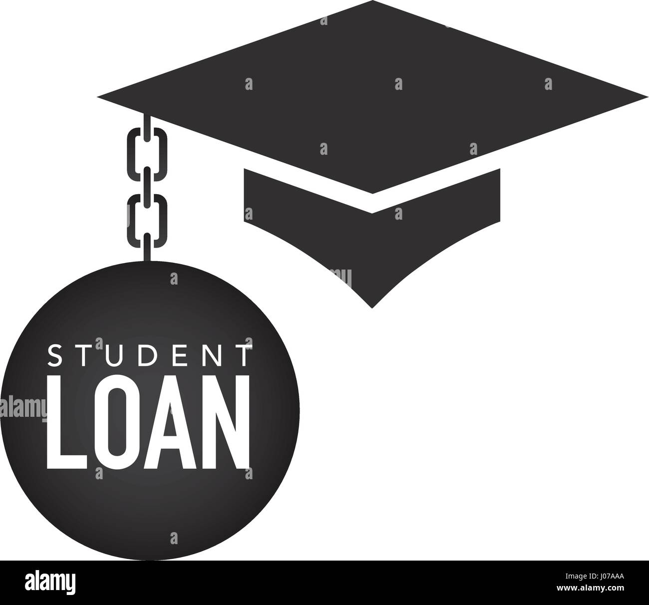Graduate Student Loan Icon - Student Loan Graphics for Education Financial Aid or Assistance, Government Loans, - Stock Image