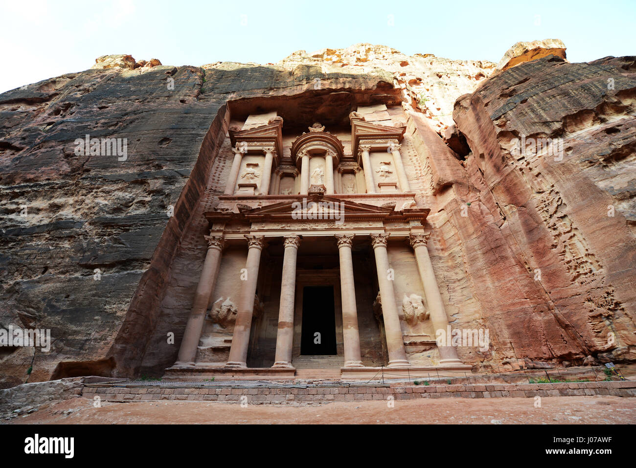 The Treasury (El Khazneh) in the ancient Nabatean city of  Petra in Jordan. - Stock Image