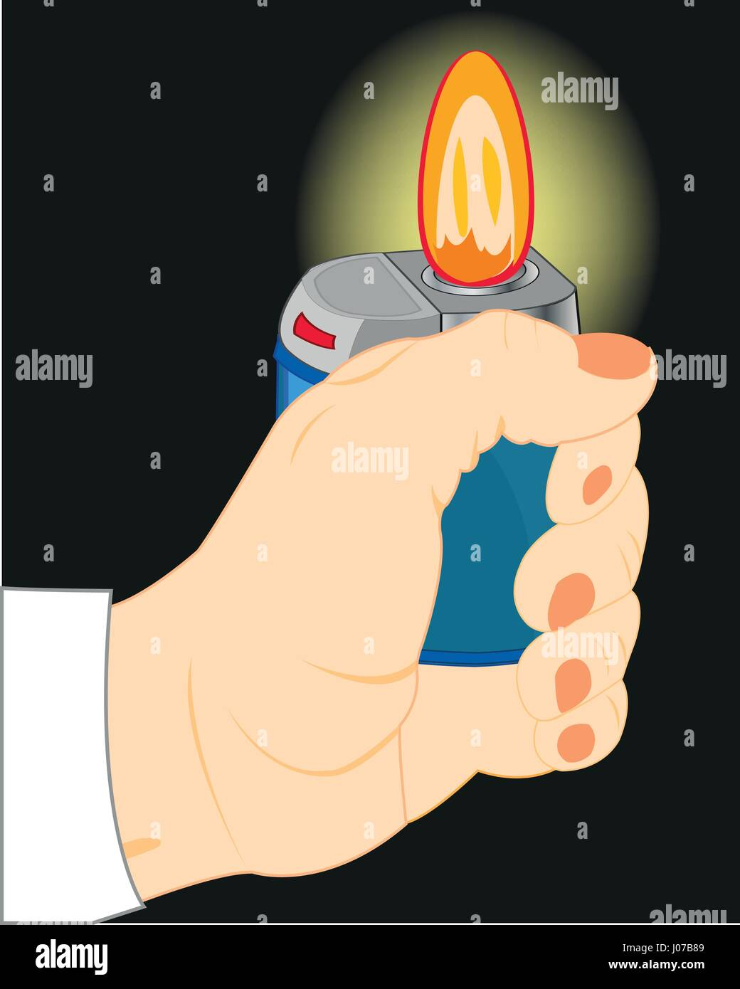 Hand with cigarette-lighter in the dark - Stock Vector