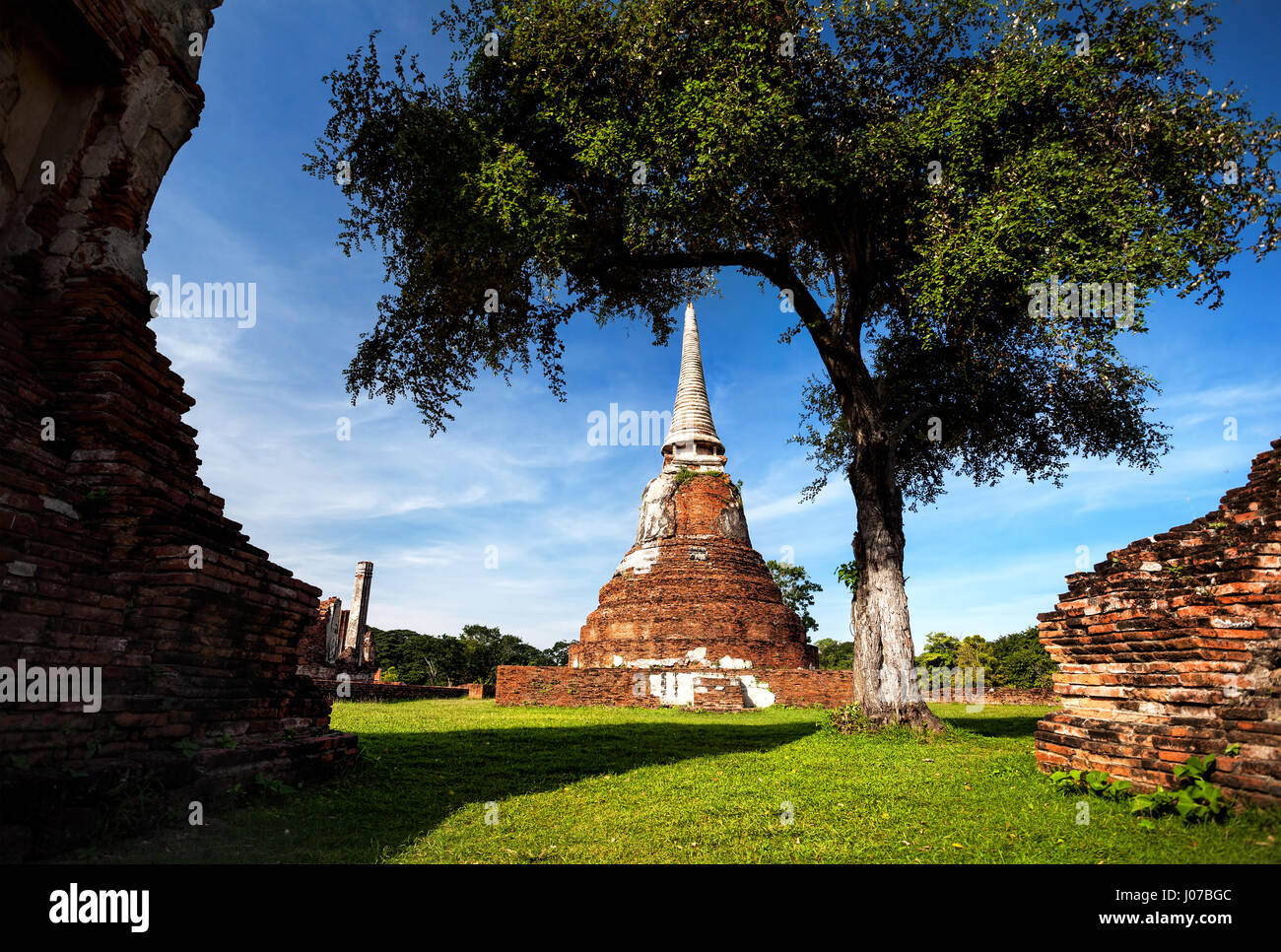 Big ruined Stupa at Wat Mahathat in Ayuttaya historical capital of Thailand - Stock Image