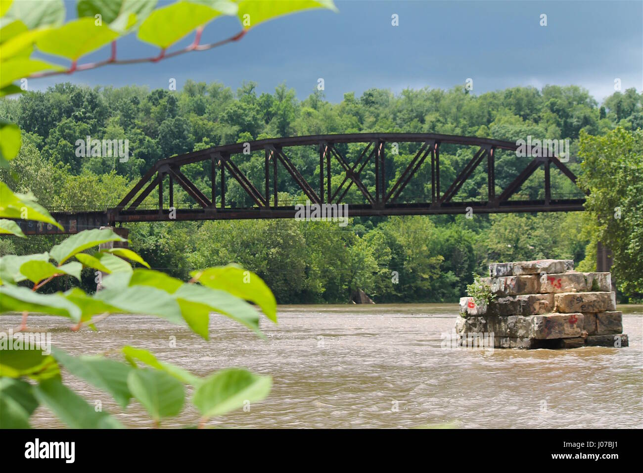 railroad train steel bridge Stock Photo