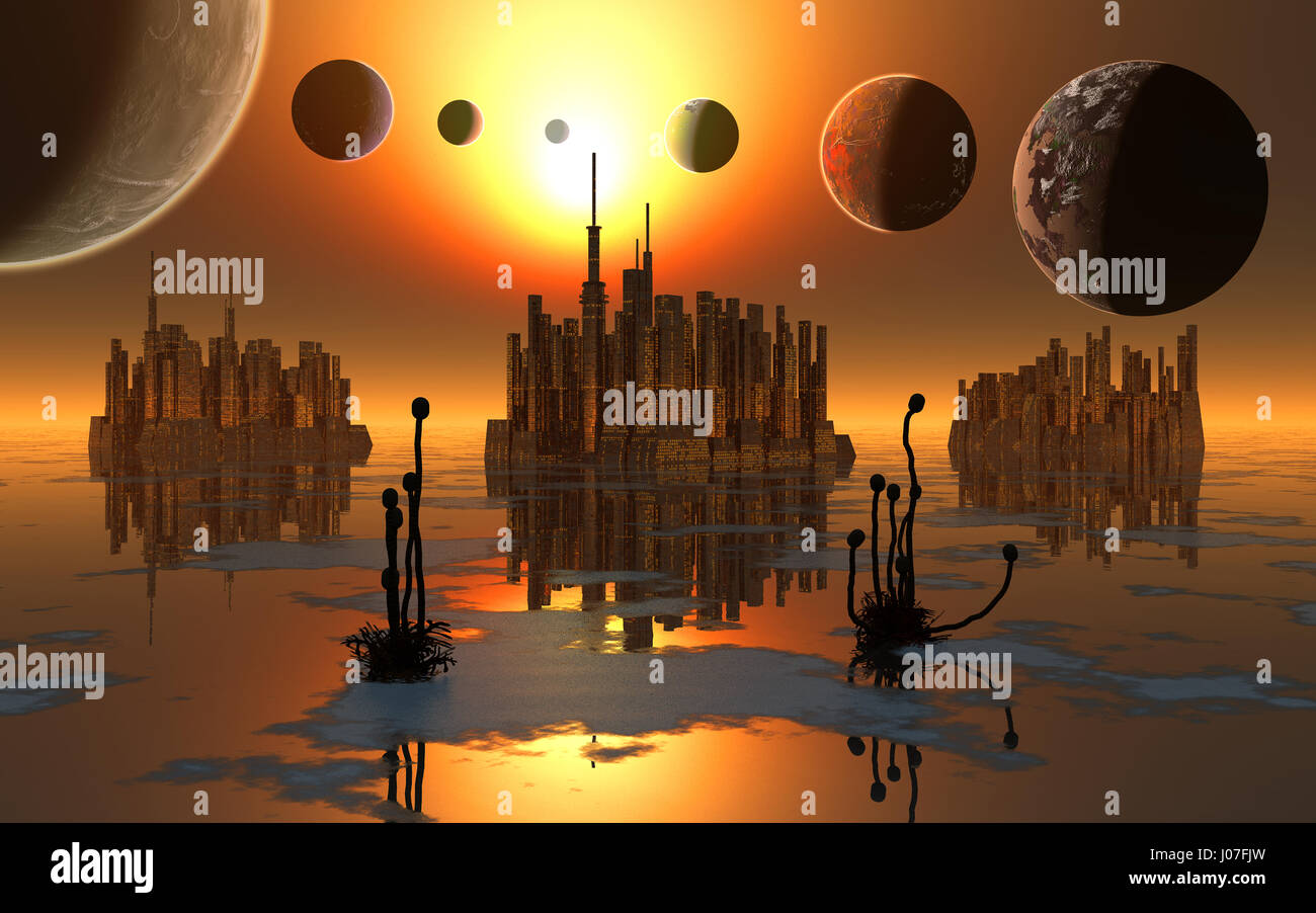 The Trappist Star System With Its 7 Exoplanets. - Stock Image
