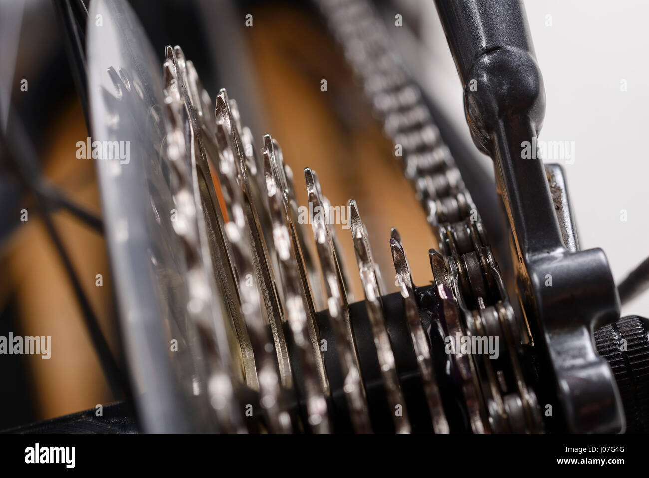 Close up of a bicycle gear cassette. - Stock Image