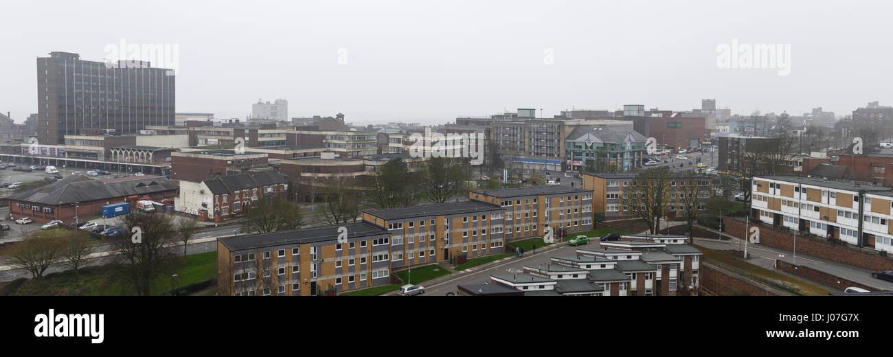 Panoramic skyline of Stoke on Trent city centre UK - Stock Image