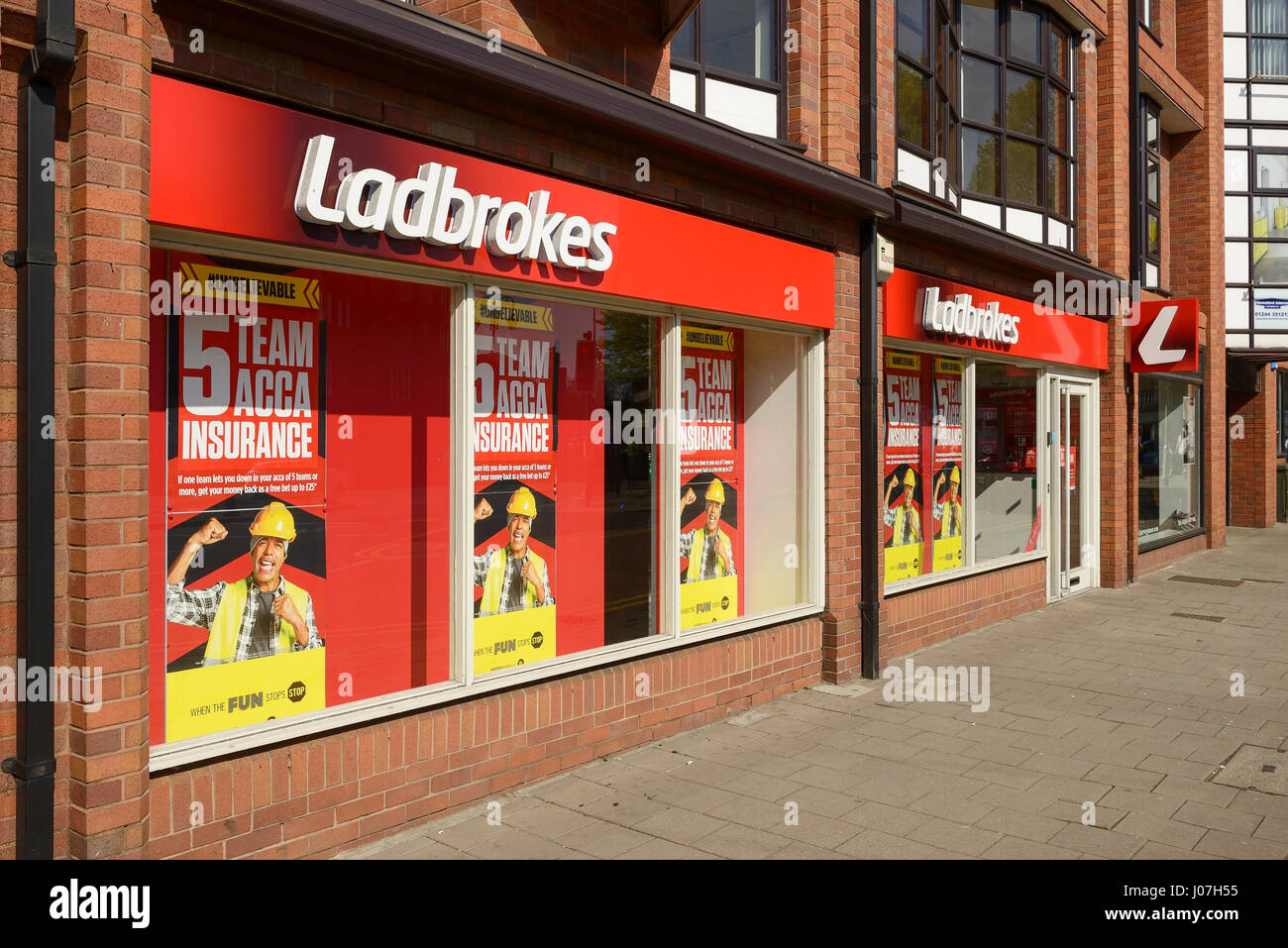 Ladbrokes bookmaker shopfront in Chester UK - Stock Image