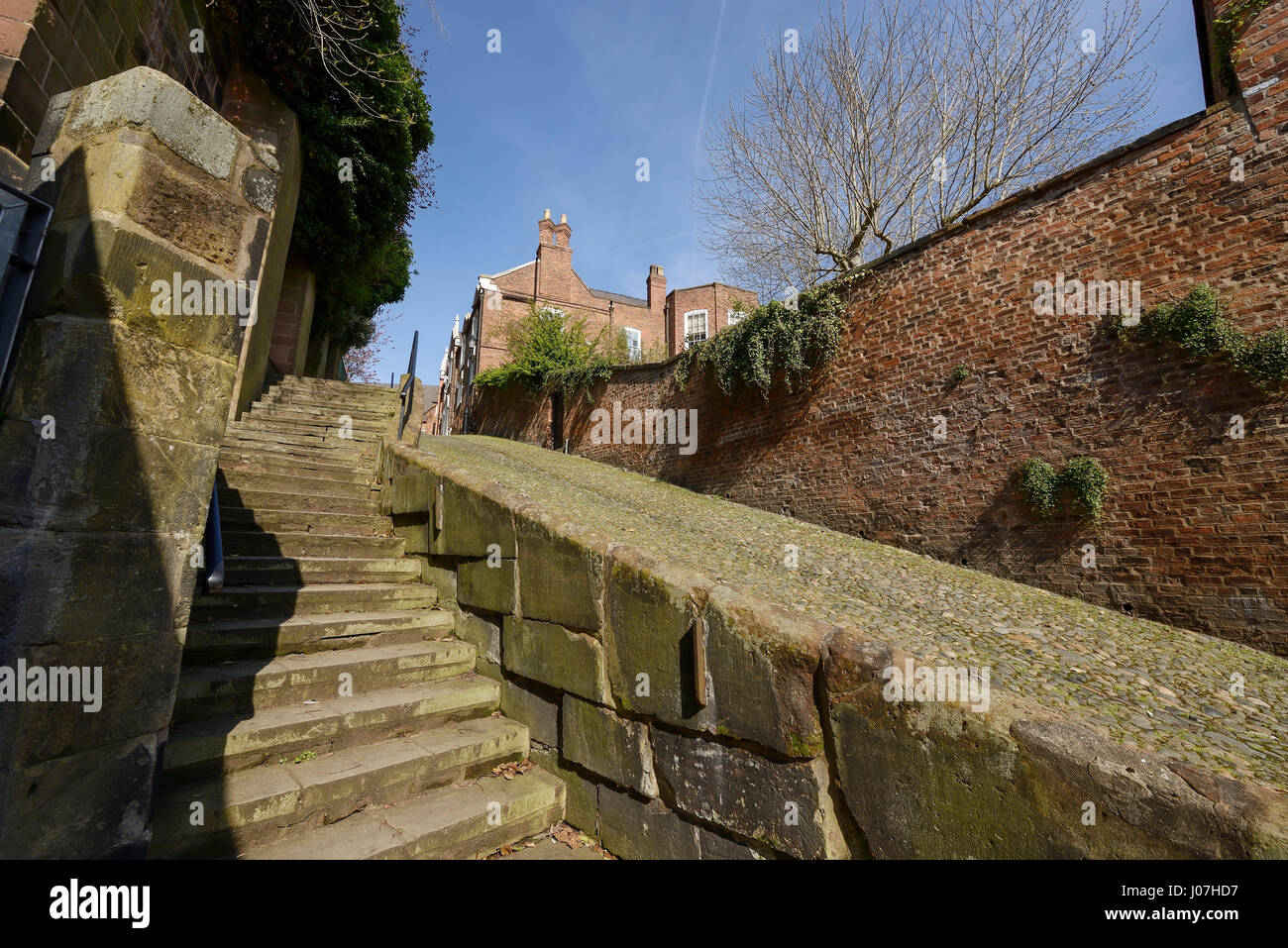 St Mary's Hill in Chester city centre UK is said to be one of the steepest streets in the world - Stock Image
