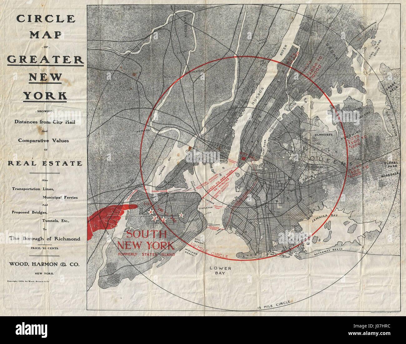 Brooklyn Staten Island Car: 1906 Wood Harmon Map Of New York City (w- Staten Island