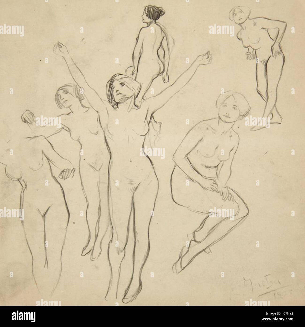 Alfons Mucha Studie von Mädchenakten - Stock Image
