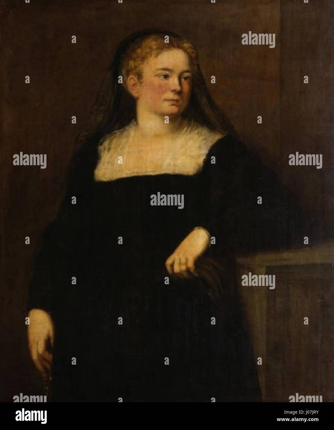 Dama de luto (Gemäldegalerie de Dresde, c. 1550-1555) - Tintoretto Stock Photo