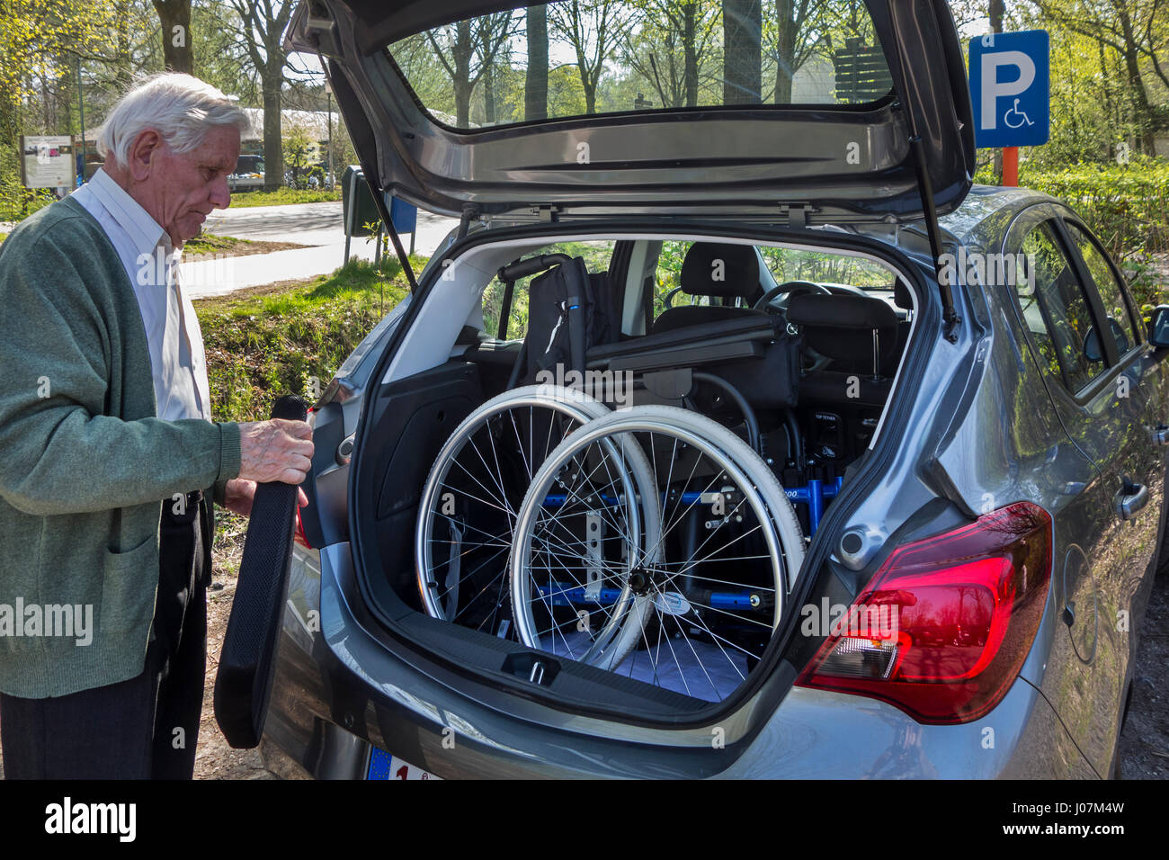 Senior man fitting dismantled wheelchair from physically disabled elderly wife in car trunk at parking for handicapped - Stock Image