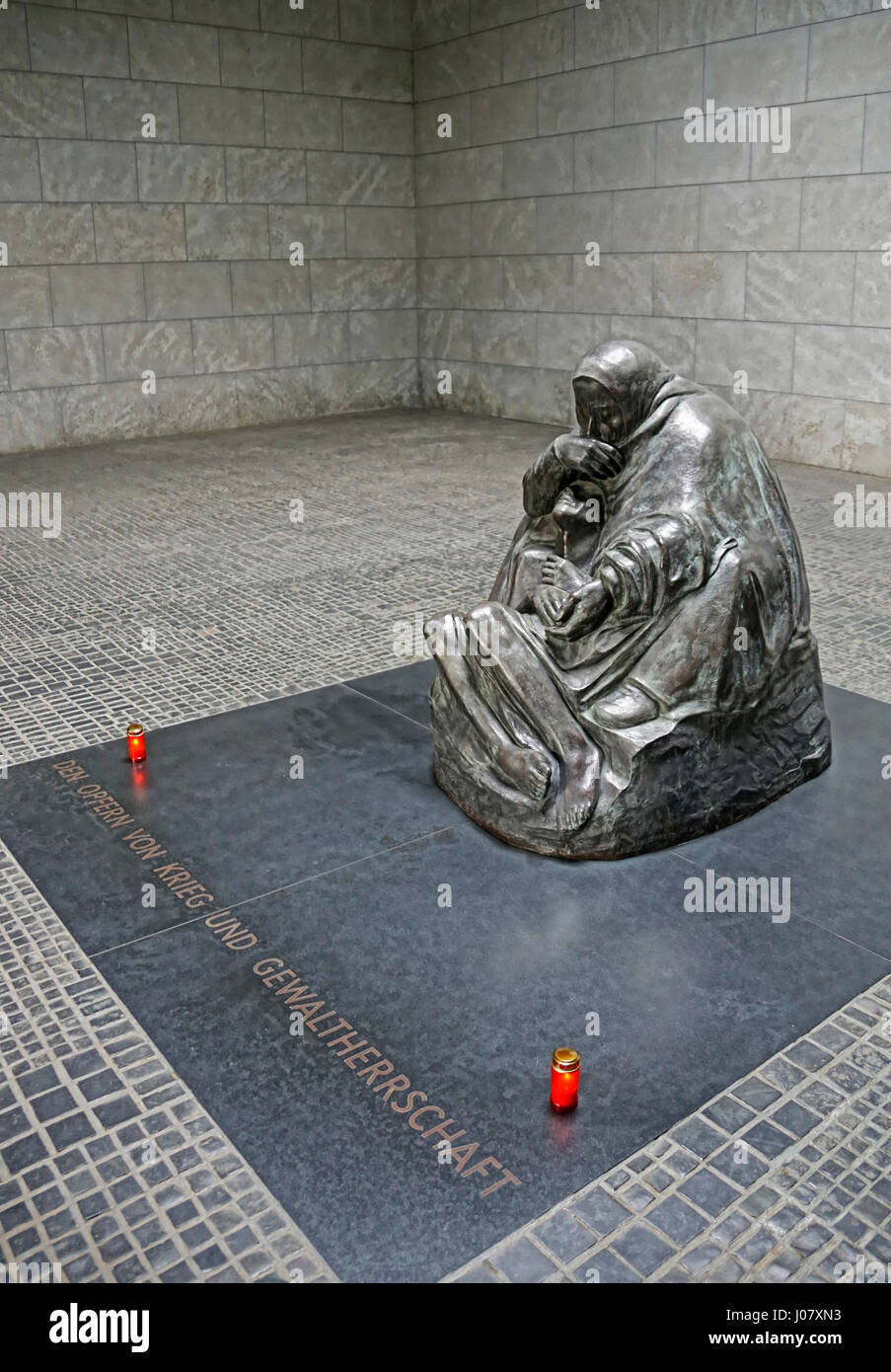 Statue of Grieving Mother Holding Dead Son by Kathe Kollwitz, National Memorial to the Victims of War and Dictatorship, - Stock Image