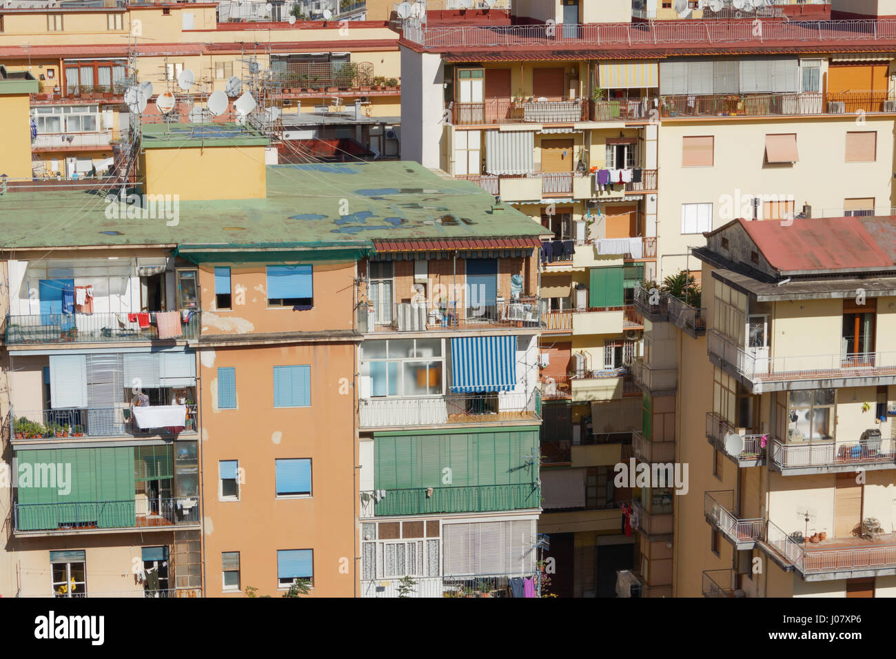Apartment blocks crowded together Stock Photo
