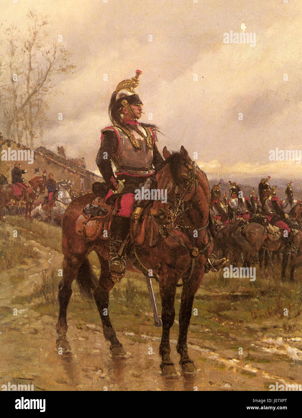 Neuville Alphonse Marie De  French Cuirassiers Stock Photo