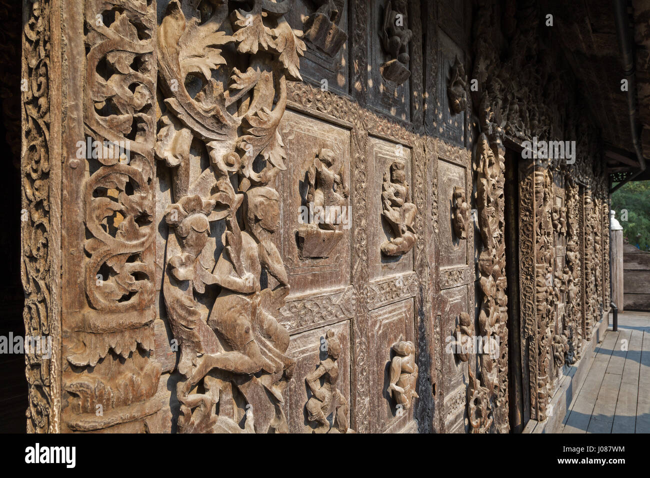 Close up of wood carvings at the wooden shwenandaw monastery also