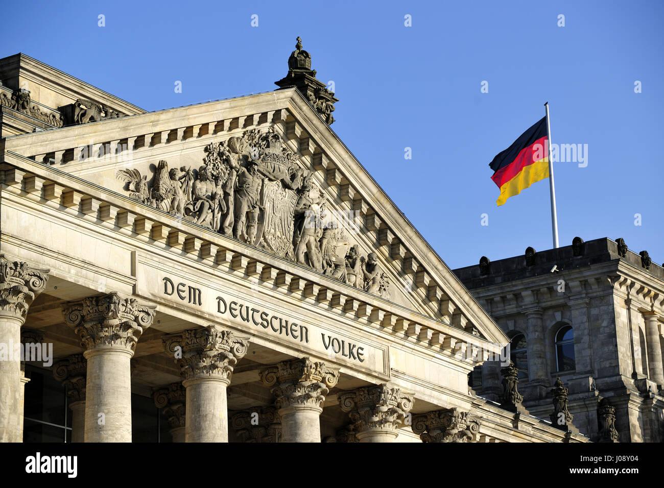 architecture, berlin, building, bundestag, capital, center, city, classic, columns, congress, culture, day, destinations, - Stock Image