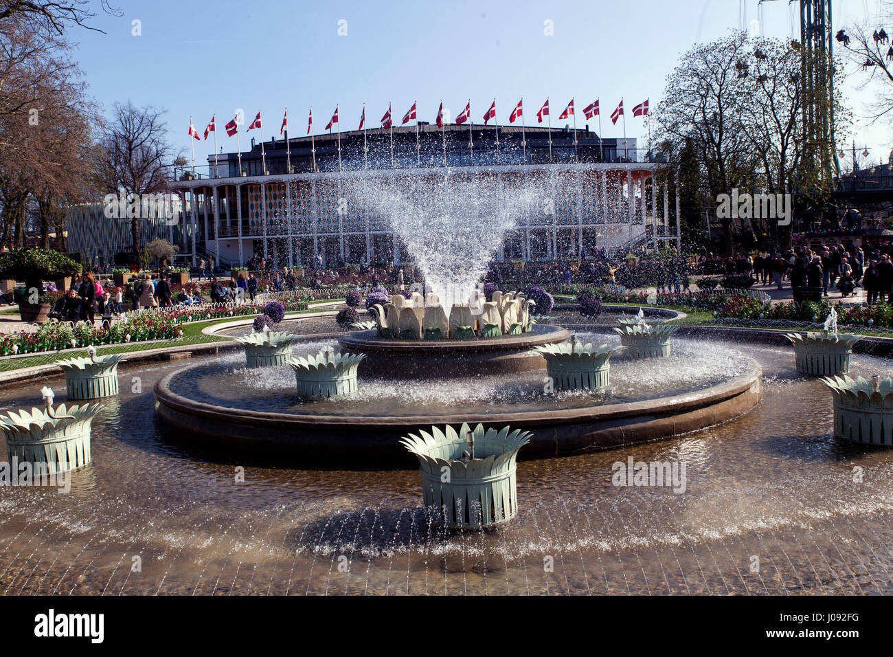 Tivoli Concert Hall with water fountains, Copenhagen - Stock Image