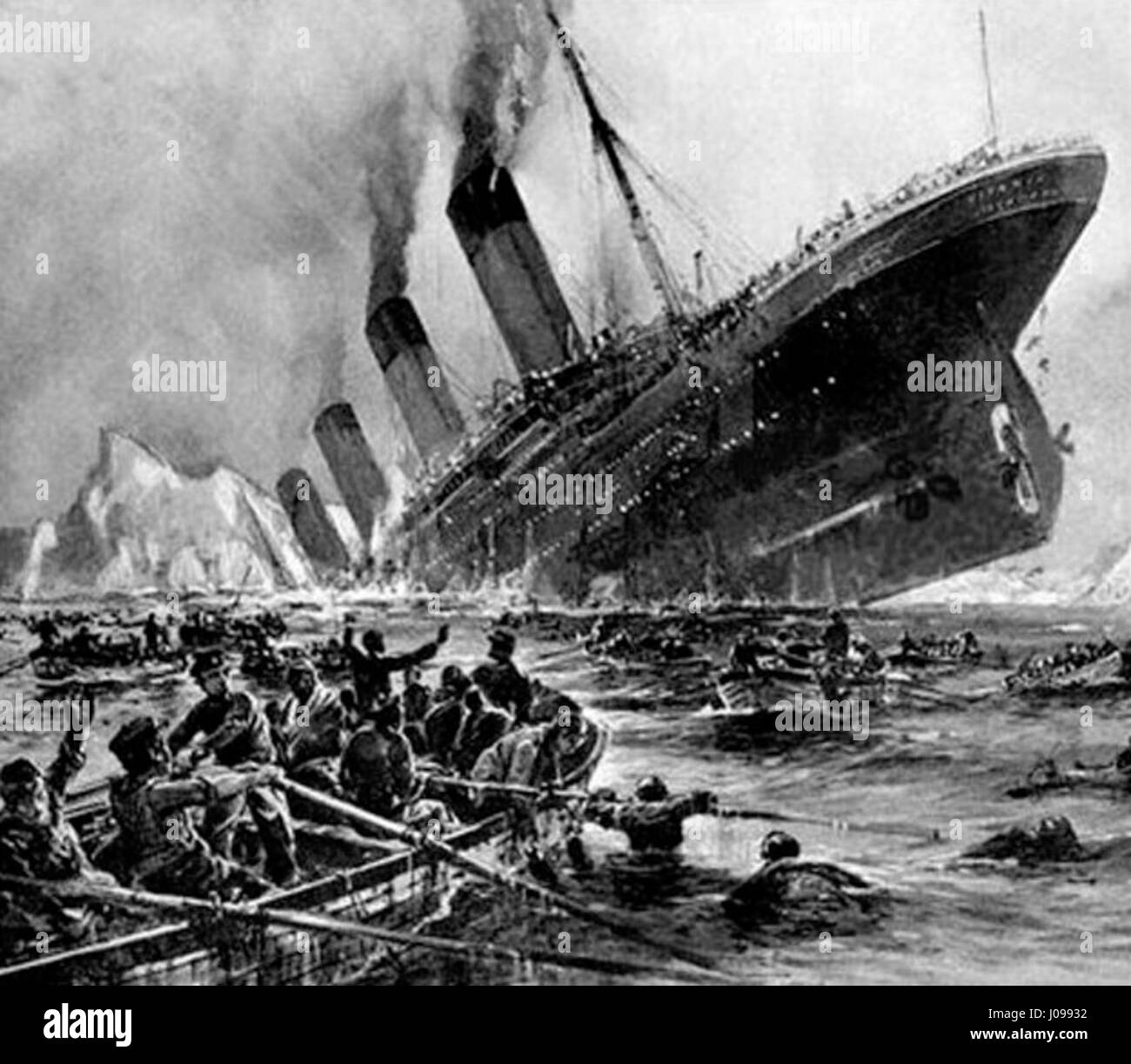 Titanic sinking, painting by Willy Stöwer - Stock Image