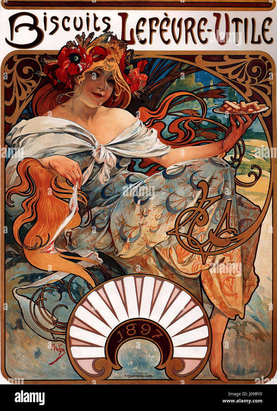 Alfons Mucha - 1896 - Biscuits Lefèvre-Utile - Stock Image