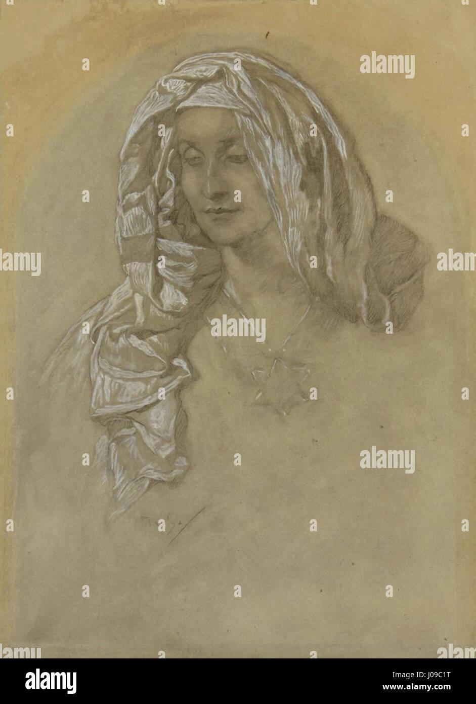 Alfons Mucha Porträt eines Mädchens - Stock Image