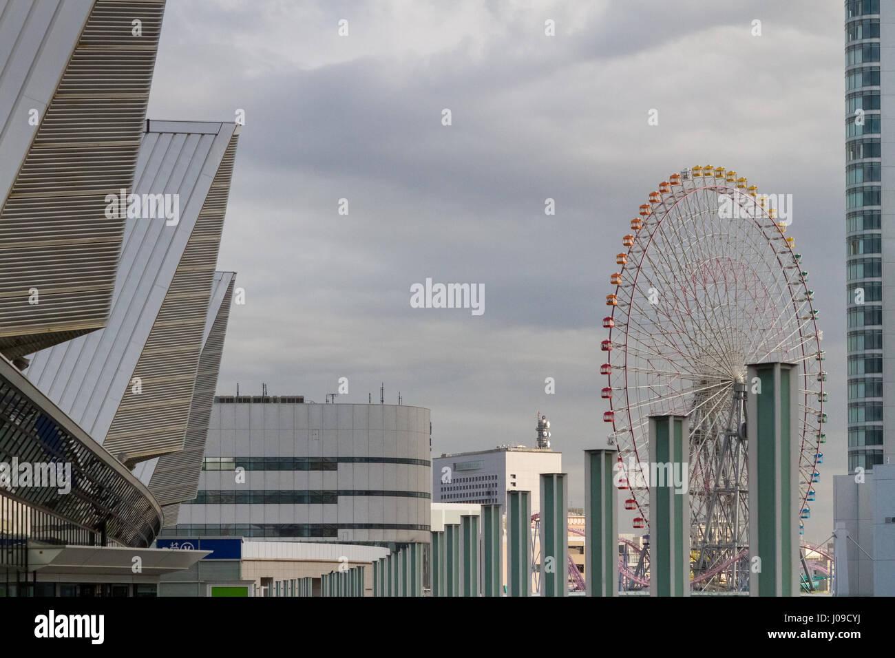 Cosmos Clock Ferris wheel in Yokohama, Kanagawa, Japan Friday February 24th 2017 - Stock Image