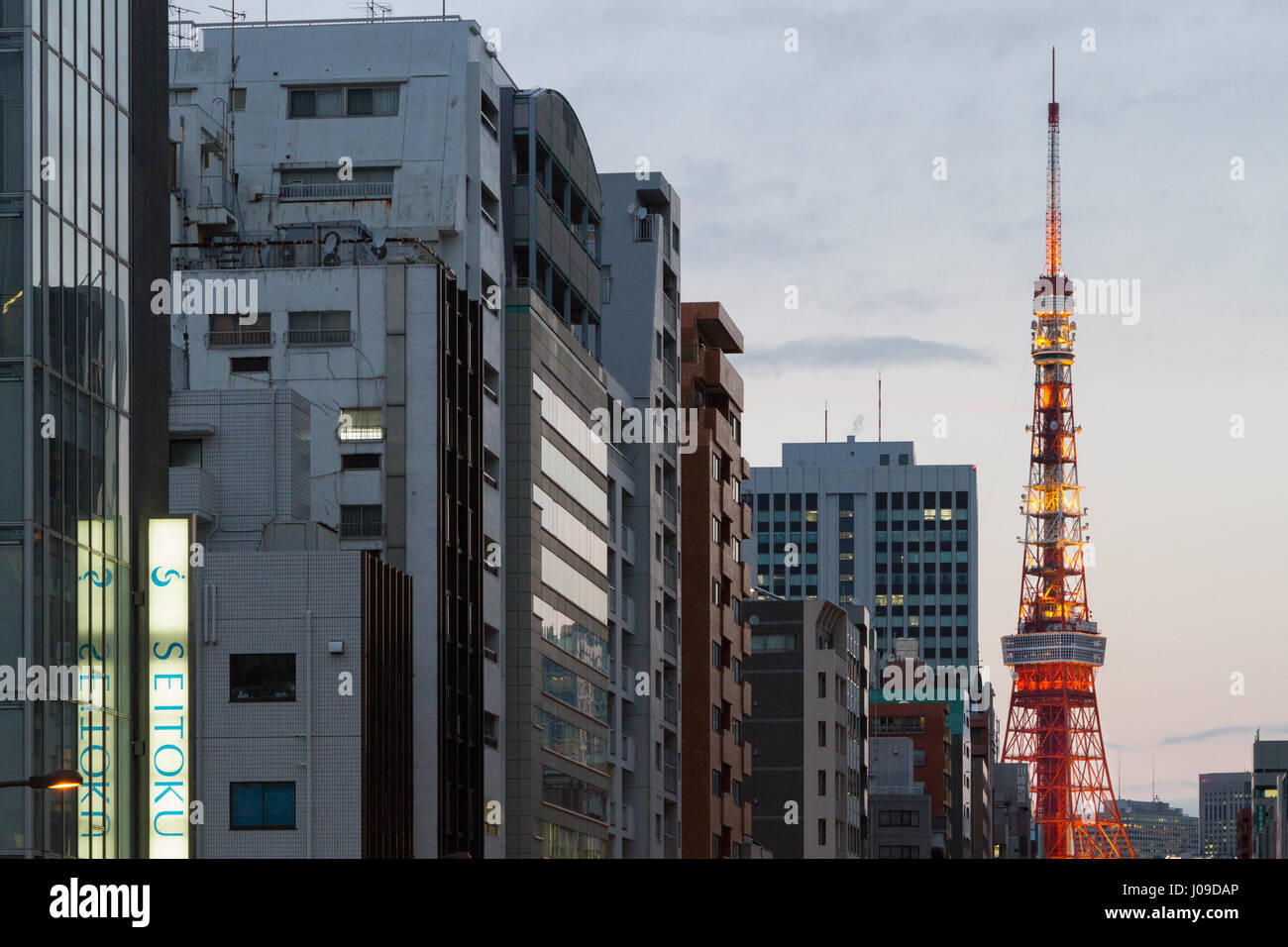 Tokyo Tower from Tamachi, Tokyo, Japan. Friday February 24th 2017 - Stock Image
