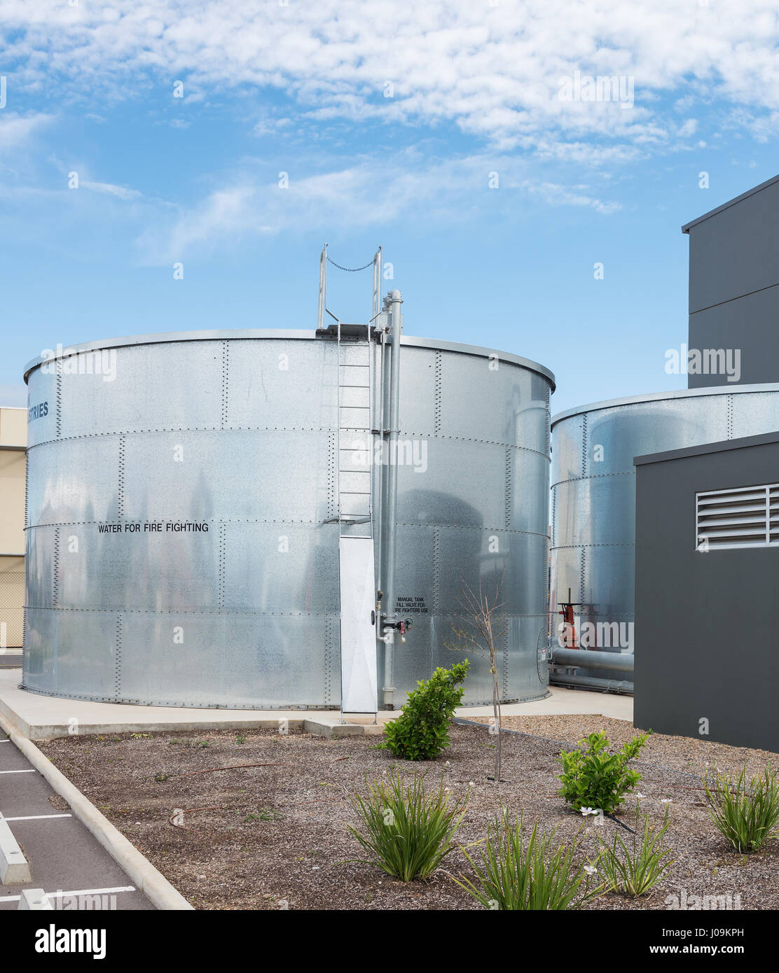 industrial water tank for fire fighting - Stock Image