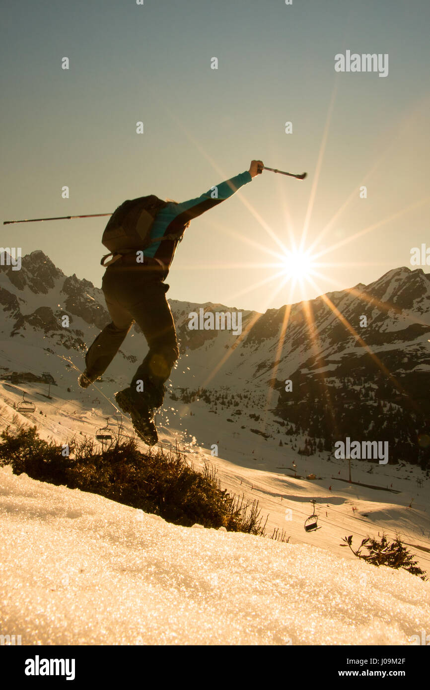 Hiking Nordic Walking Fitness Mountain Walking - Stock Image