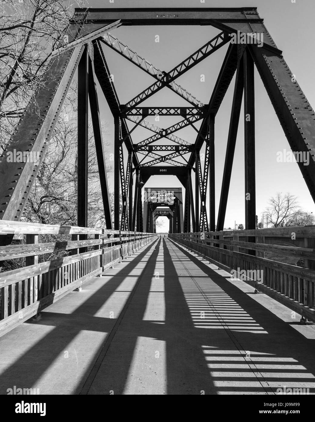 Whide angle view of the city of Winters famous Historic Trestle Train Bridge in black and white, California, USA Stock Photo