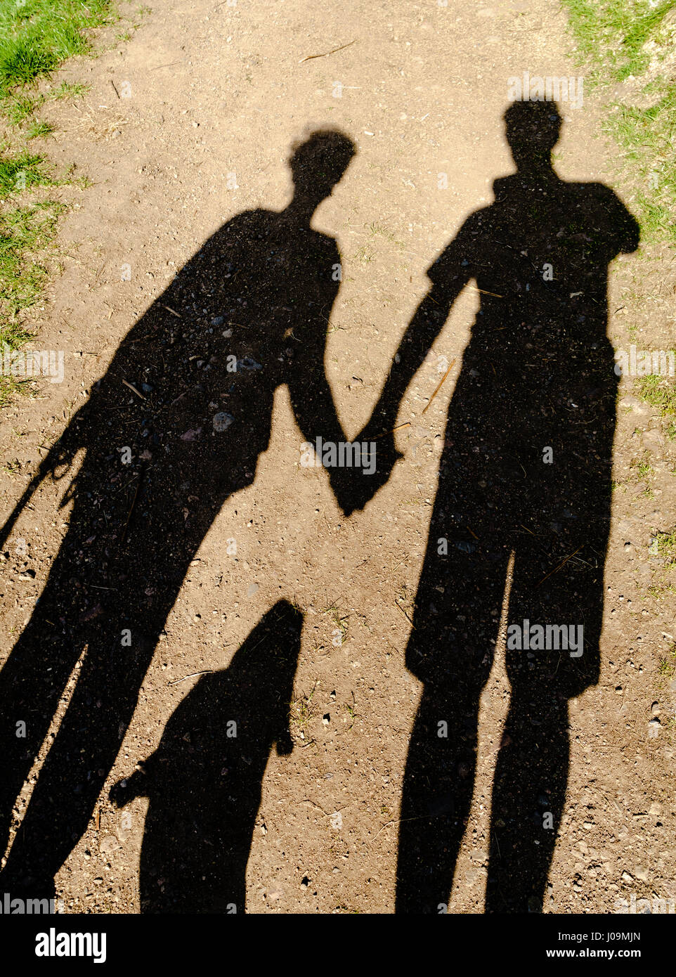 Shadows of two people holding hands and a dog walking outdoors Stock ... 4452c3b347