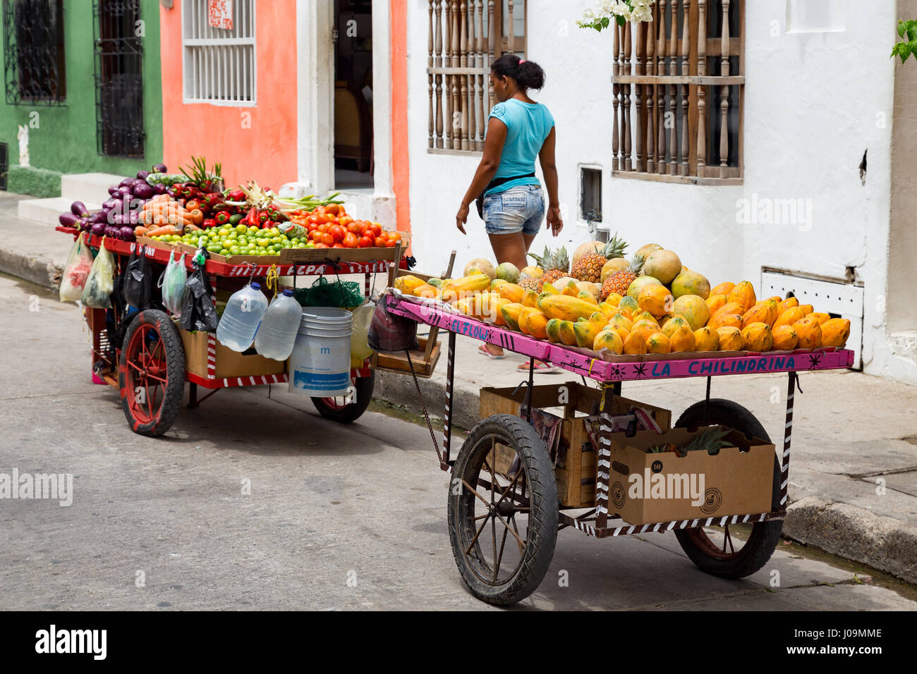Man Selling Fruit Cartagena Stock Photos & Man Selling Fruit