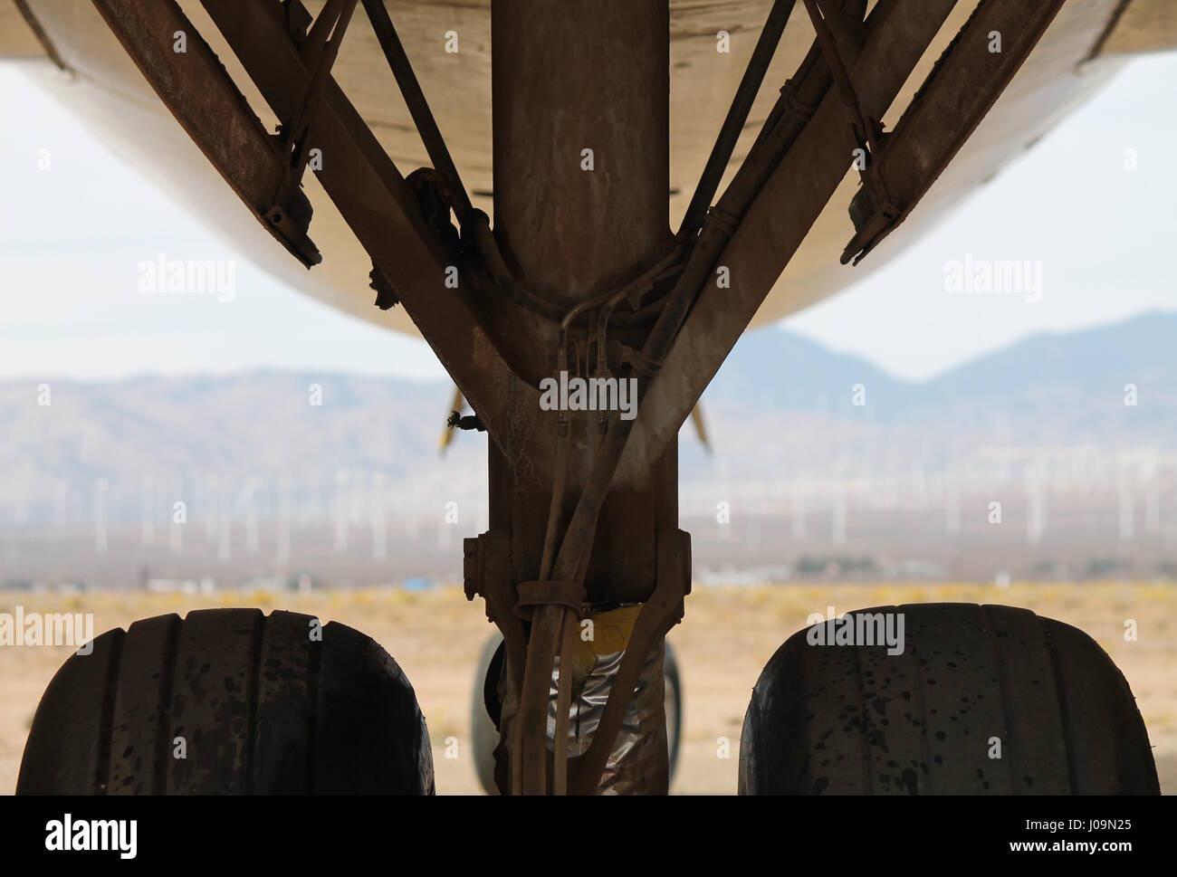 747 Jumbo Jet Airplane Wheels in Mojave Desert Stock Photo
