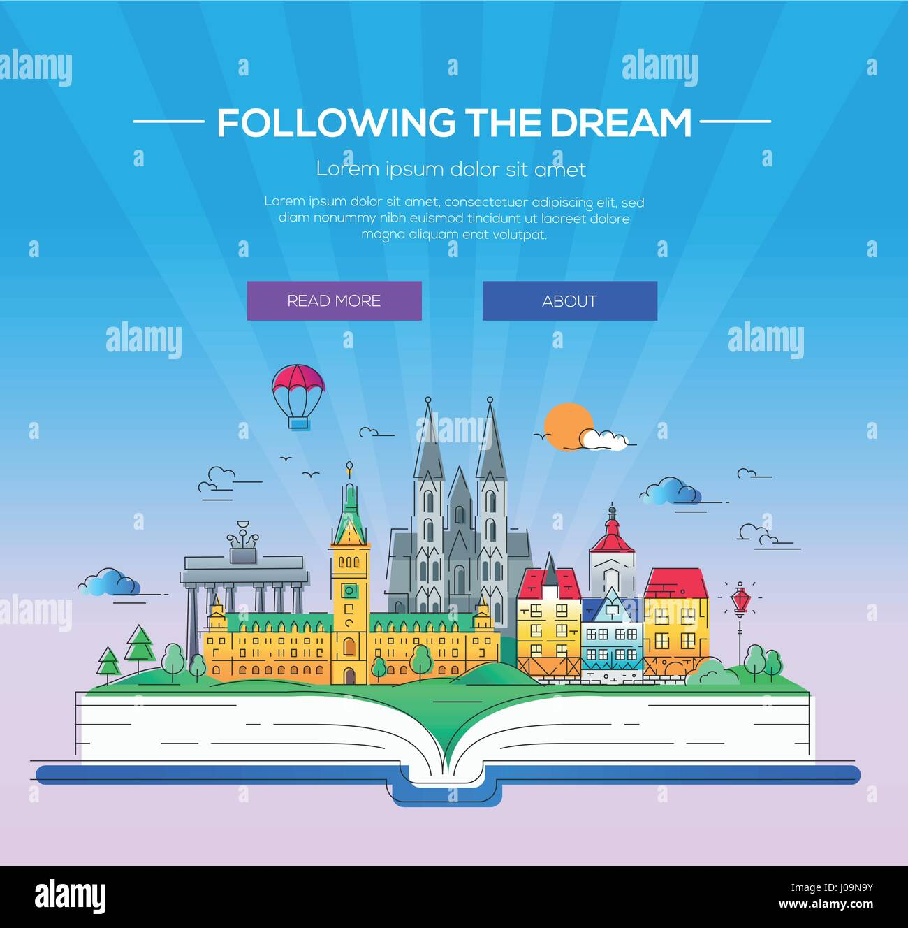 Following the dream - vector line travel illustration - Stock Vector