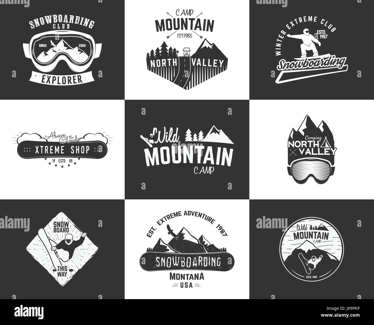 Set of Snowboarding extreme logo and label templates. Winter Stock ...