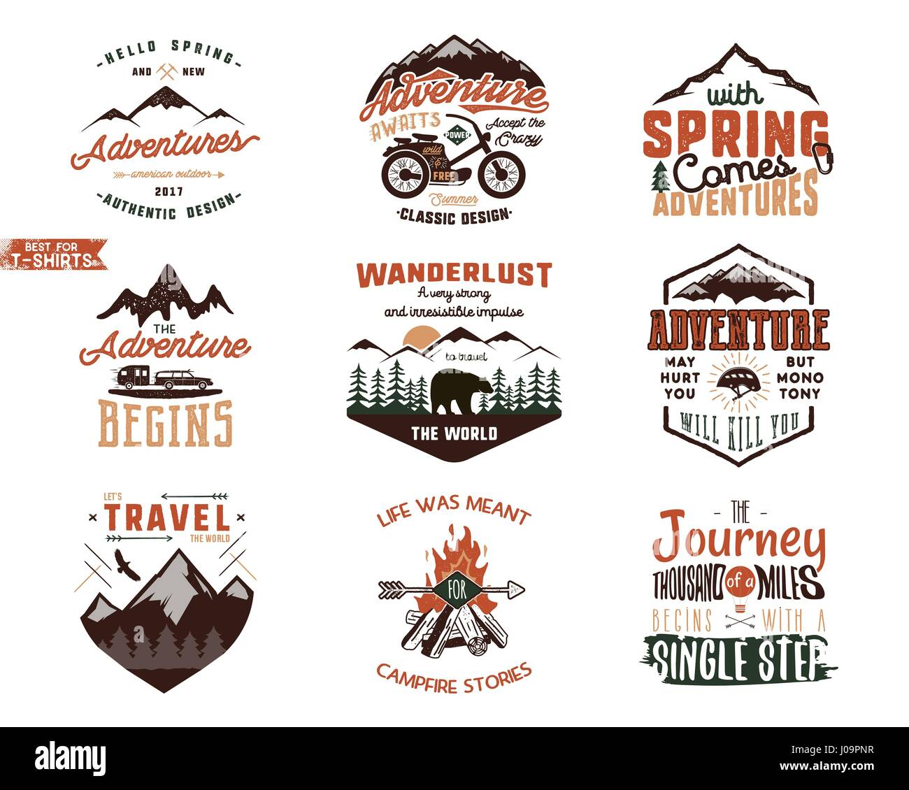 Set of vintage adventure tee shirts designs hand drawn for Old logo t shirts