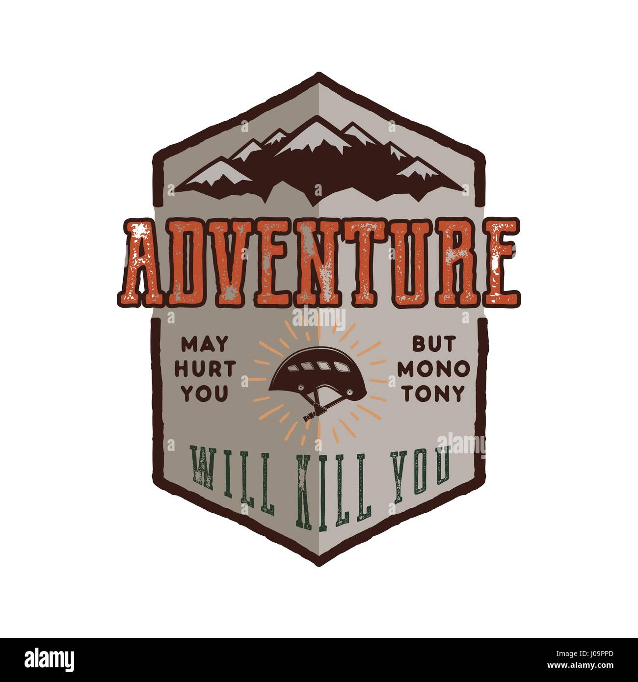 Vintage adventure Hand drawn label design. Adventure May Hurt You sign and outdoor activity symbols - mountains, - Stock Image