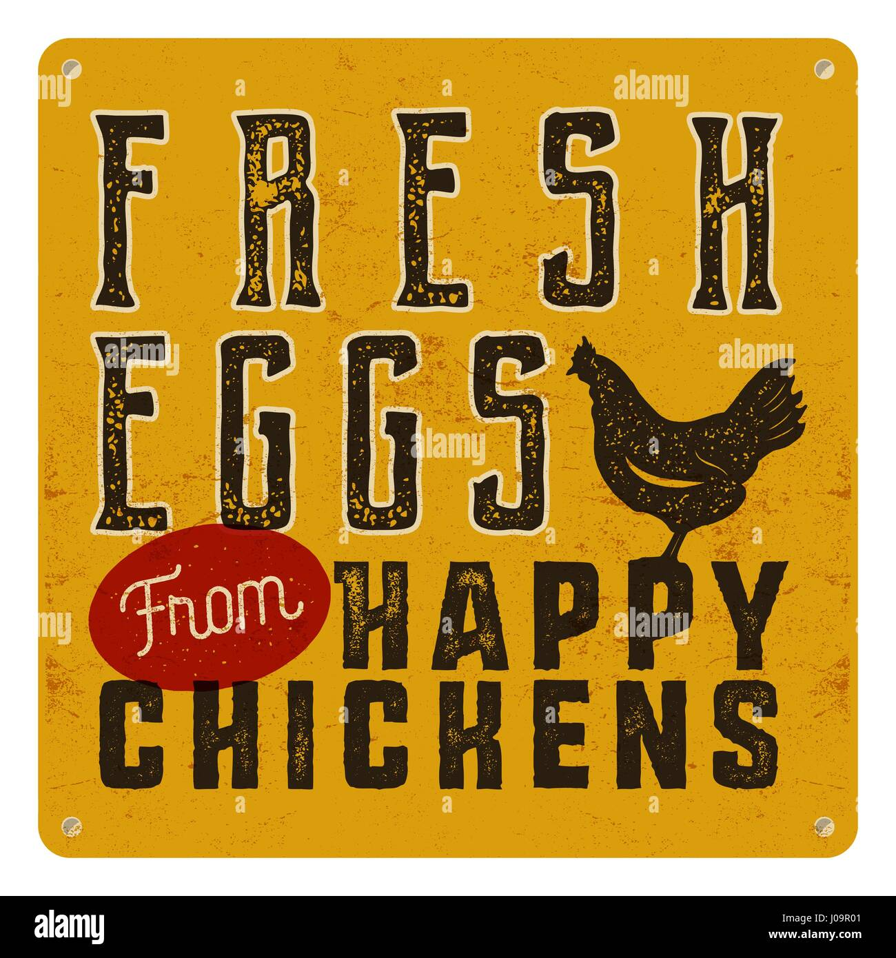 Farm fresh eggs poster on yellow vintage rusty metal background with chicken. Retro typography style - Stock Vector